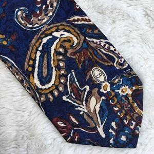 Vintage Christian Dior Paisley Blue Silk Tie